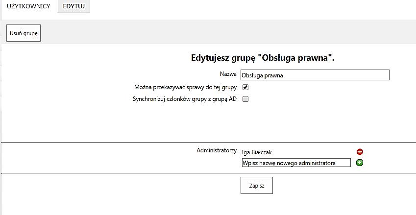 ekran - grupy edycja